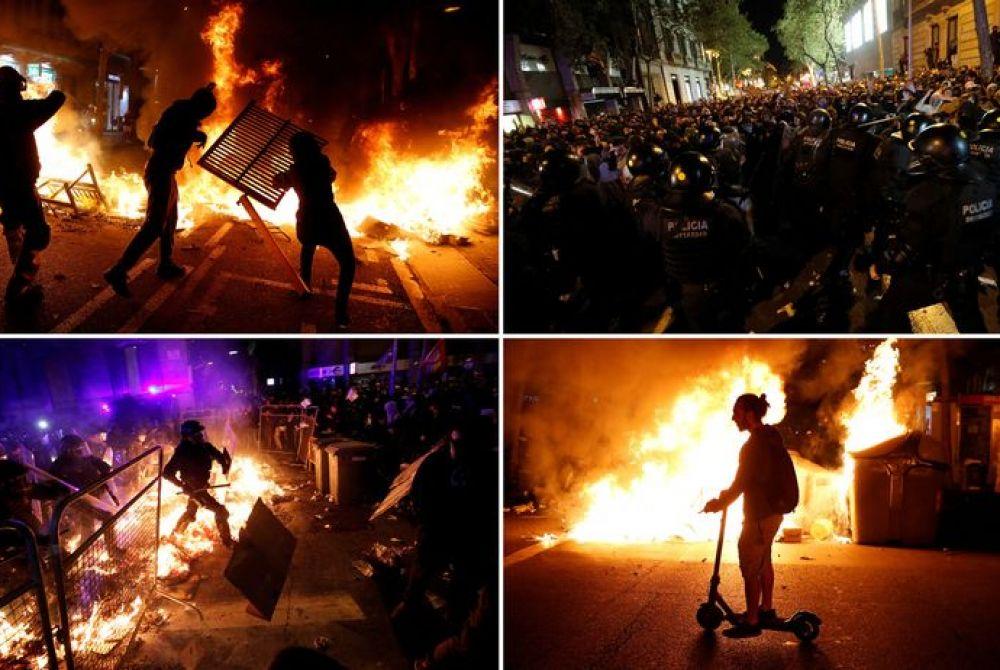 MASOVNI PROSVJEDI  FOTO: KATALONIJA U PLAMENU, VELIKI SUKOBI S POLICIJOM U ČETIRI GRADA, DESECI OZLIJEĐENIH! Prosvjednici zasuli specijalce bocama i bengalkama