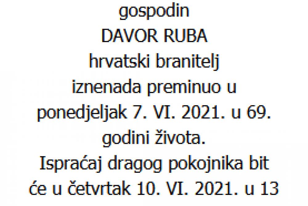 Davor Ruba - Hrvatski branitelj 1952. - 2021.