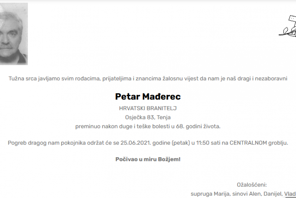 Petar Mađerec - Hrvatski branitelj 1953. - 2021.