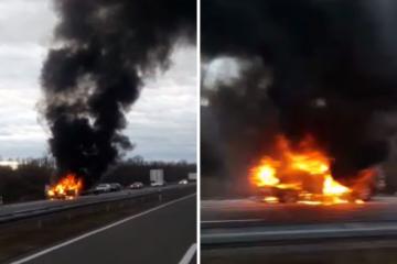 Na autocesti kod Lužana gorio auto: 'Ostao je samo okvir...'