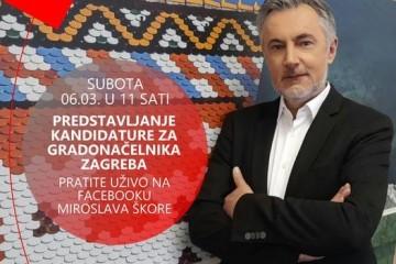 Pratite uživo predstavljanje kandidature Miroslava Škore za gradonačelnika Zagreba