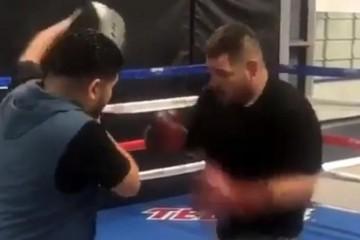 VIDEO Ovo je boljelo: Kroše Andyja Ruiza slučajno završio na bradi njegova trenera