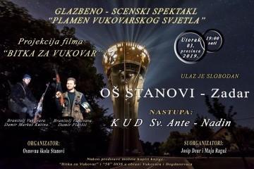"""POZIV na glazbeno scenski spektakl pod nazivom """"Plamen vukovarskog svjetla"""" i projekciju filma """"Bitka za Vukovar"""" u Zadru"""