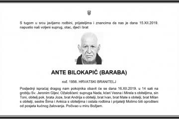 Posljednji pozdrav ratniku - Ante Bilokapić (Baraba)