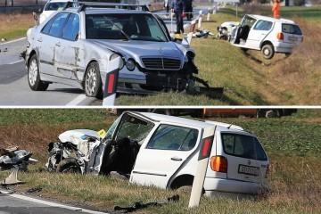 U sudaru kamiona i dva auta kod Osijeka troje ozlijeđenih