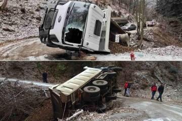 Kamion se prevrnuo, djelatnici Hitne izvukli vozača iz kabine