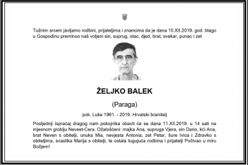 Posljednji pozdrav ratniku - Željko Balek
