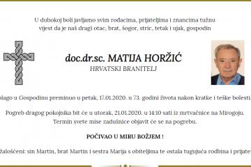 Posljednji pozdrav ratniku - doc.dr.sc. Matija Horžić