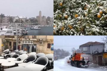 Snijeg pada u Dalmaciji: Zabijelili otoci, a olujni vjetar stvara probleme u prometu