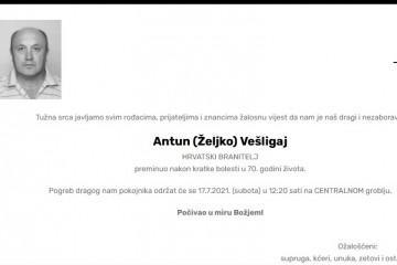 Antun (Željko) Vešligaj - Hrvatski branitelj 1951. - 2021.
