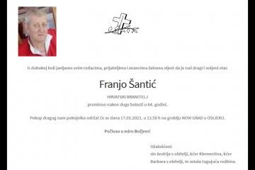 Franjo Šantić - Hrvatski branitelj 1957. - 2021.