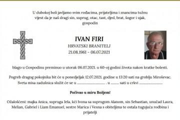 Ivan Firi - Hrvatski branitelj 1961. - 2021.