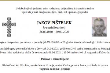 Jakov Pištelek - Hrvatski branitelj 1950. - 2021.