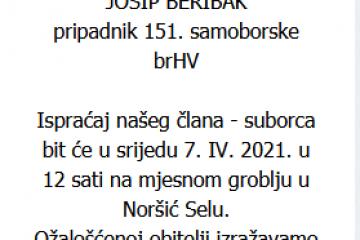 Josip Beribak - Hrvatski branitelj - In memoriam