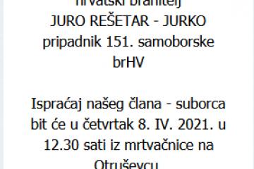 Juro Rešetar - Hrvatski branitelj - In memoriam