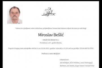 Miroslav Bešlić - Hrvatski branitelj 1954. - 2021.