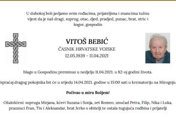 Vitoš Bebić - Časnik Hrvatske vojske 1939. - 2021.