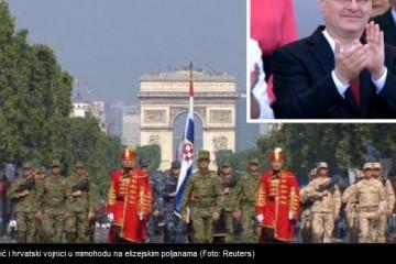 Hrvatski vojnici i Ivo Josipović na mimohodu u povodu dana pada Bastilje