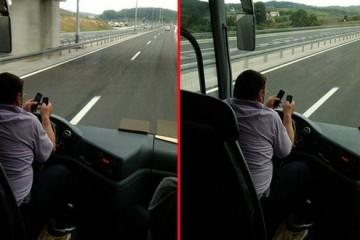 Šokirani putnici snimili vozača: sa 130 na sat piše poruke na dva mobitela i laktovima vozi autobus