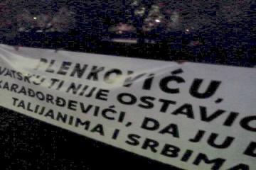 Prosvjed u Slavonskom Brodu prije prikazivanja filma o Kikašu