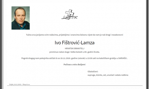 Posljednji pozdrav ratniku - Ivo Fištrović-Lamza