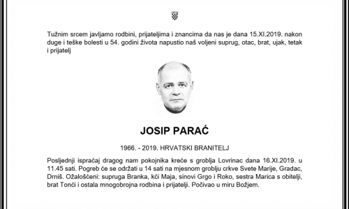 Posljednji pozdrav ratniku - Josip Parać