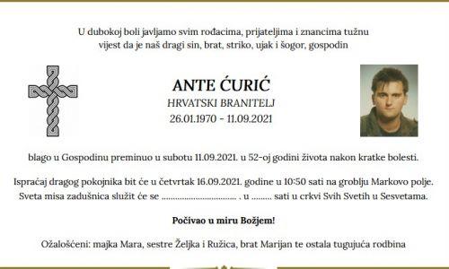 Ante Ćurić - Hrvatski branitelj 1970. - 2021.
