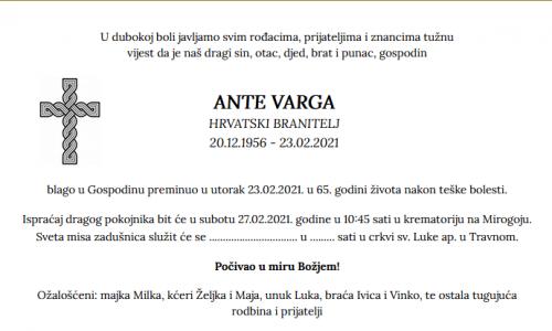 Ante Varga - Hrvatski branitelj 1956. - 2021.