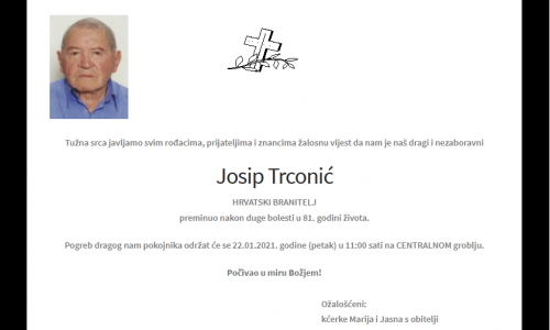 Josip Trconić - Hrvatski branitelj 1940. - 2021.